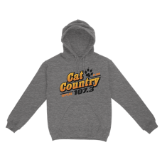 Apparel - Cat Country Hoodie Dark Heather with Full Front Logo and Back Shoulder Paw Print