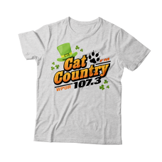 Apparel - Cat Country Limited Edition St. Patrick's T-Shirt Ash with Full Front Logo and Back Shoulder Paw Print