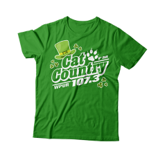 Apparel - Cat Country Limited Edition St. Patrick's T-Shirt Green with Full Front Logo and Back Shoulder Paw Print