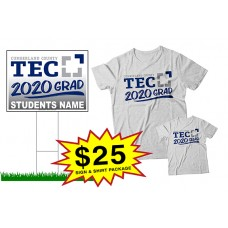 "School Sign - 18""h x 24""w - CCTEC One Sign and Two Shirts Package"