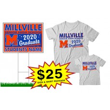 "School Sign - 18""h x 24""w - Millville HS One Sign and Two Shirts Package"