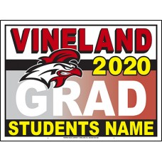 "School Sign - 18""h x 24""w - VINELAND HS 4mm Corrugated Plastic Sign with Metal H-Frame Included"