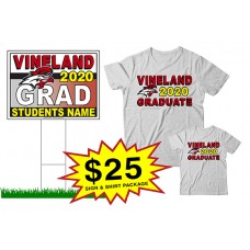 "School Sign - 18""h x 24""w - VINELAND HS One Sign and Two Shirts Package"