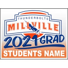 "School Sign - 18""h x 24""w - MILLVILLE HS 4mm Corrugated Plastic Sign with Metal H-Frame Included"