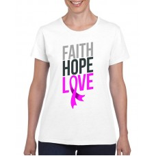 Apparel - Breast Cancer Faith Hope Love with Hanging Ribbon T-Shirt