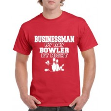 Apparel - Stock Design T-Shirt Red with Businessman By Day Bowler By Night
