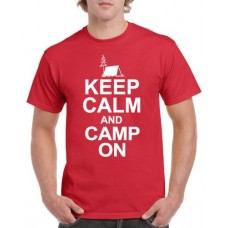 Apparel - Stock Design T-Shirt Red with Keep Calm and Camp On