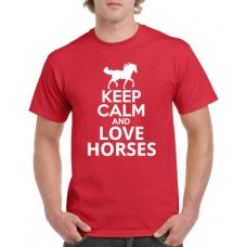 Apparel - Stock Design T-Shirt Red with Keep Calm and Love Horses