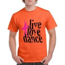 Apparel - Stock Design T-Shirt Orange with Live Love Dance