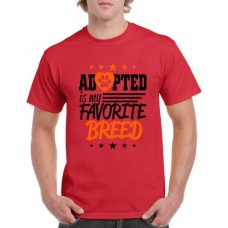 Apparel - Stock Design T-Shirt Red with Adopted Is My Favorite Breed