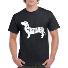 Apparel - Stock Design T-Shirt Black with Dachshund Dog Shape