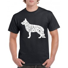 Apparel - Stock Design T-Shirt Black with German Shepherd Dog Shape